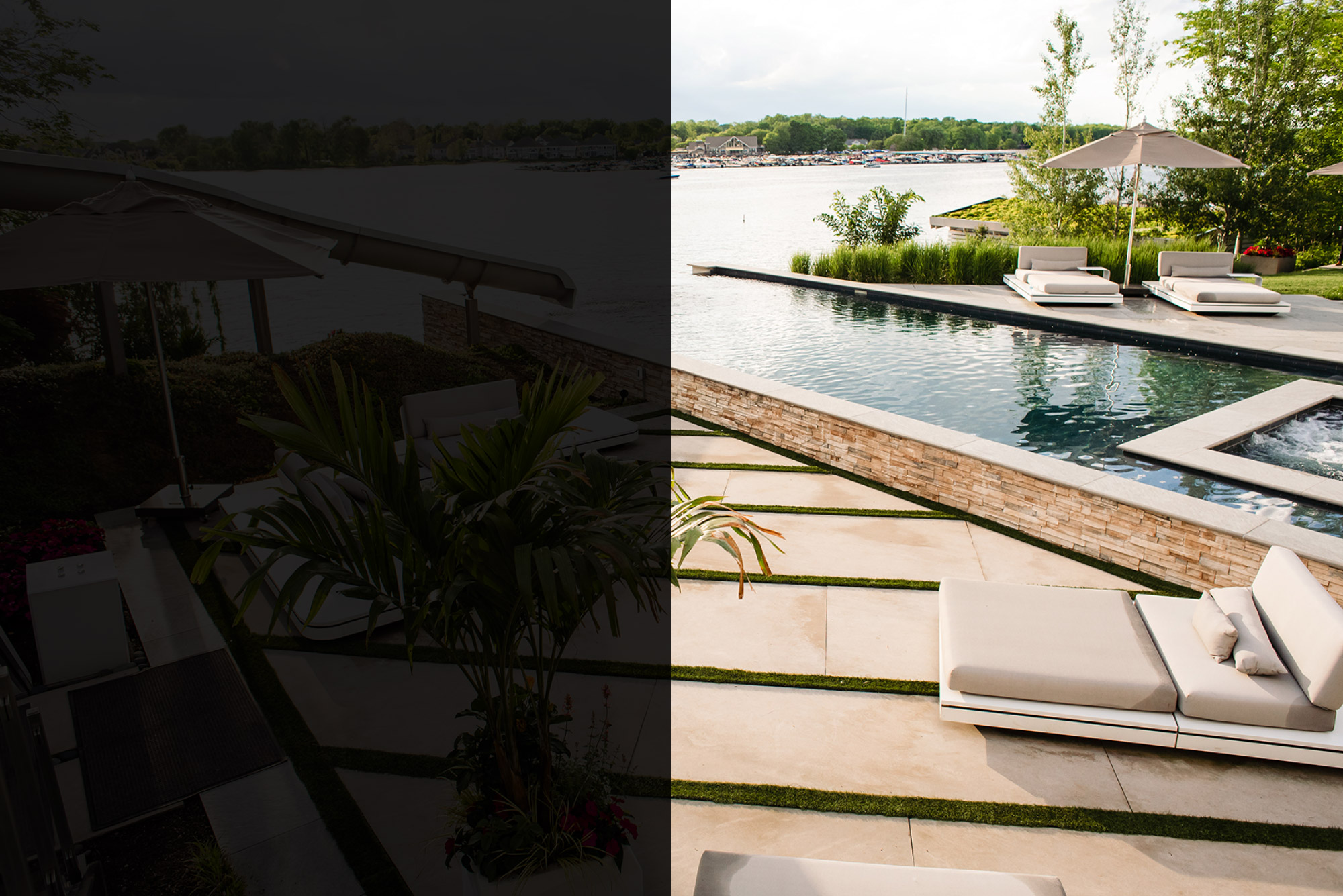 Infinity pool, stone wall and patio by OEG