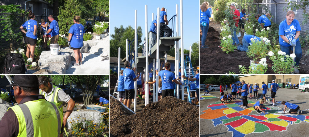 Five photos of OEG team members helping build a playground.
