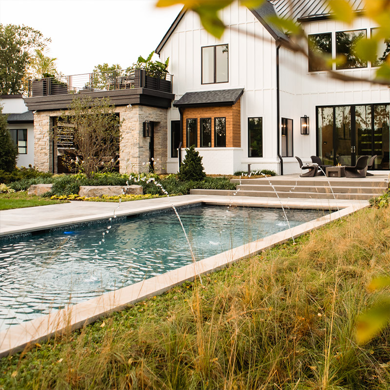 Swimming pool with landscape architecture