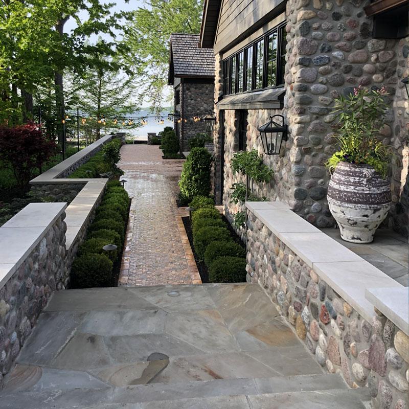 Stone stairs and custom paver walkway